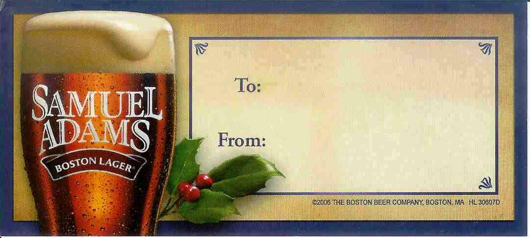 Sam Adams Beer Gift Tag