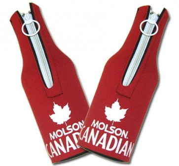Molson Canadian Koozies : Red Bottle Suit Set