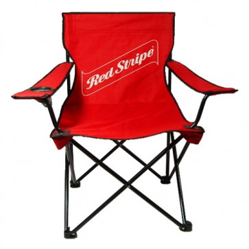 Red Stripe Red Camping Chair