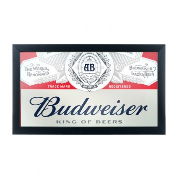 Budweiser Bar Mirror : Red Deluxe Logo