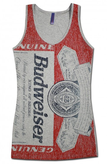 Budweiser Distressed Bottle Label Women's Tank Top