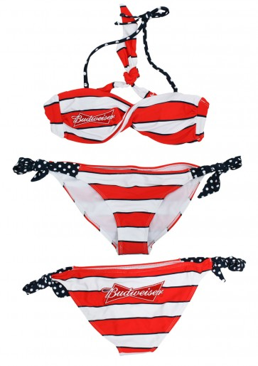 Budweiser Striped Bikini Set