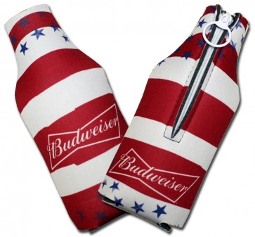 Budweiser Striped Collapsbile Bottle Coozies