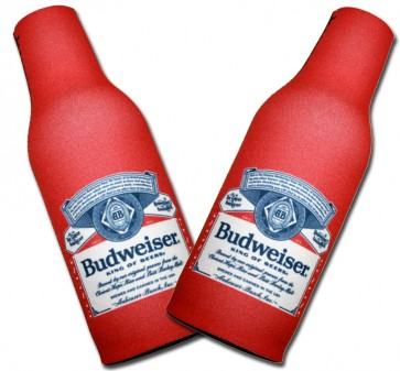 Budweiser Beer Label Bottle Coozie Set