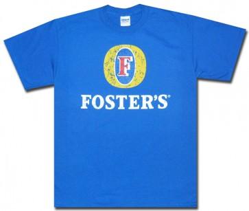 Foster's Shirt : Blue Distressed Logo T-Shirt