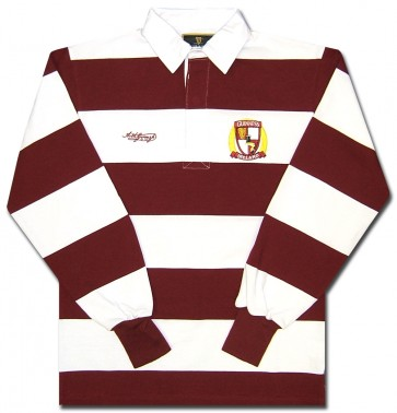 Guinness Burgundy Stripes Long Sleeve Rugby Shirt