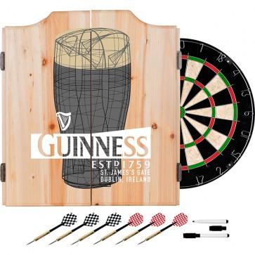 Guinness Pint Art Dart Set w/ Cabinet