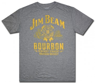 Jim Beam Whiskey Charcoal Distressed T Shirt