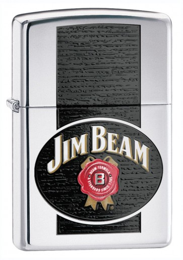 Jim Beam Zippo Lighter : Polished Chrome Button