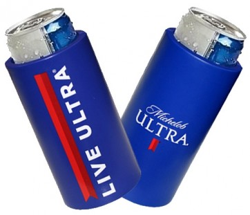 Michelob Ultra Slim Blue Can Coozie Set