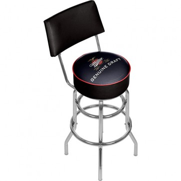 Miller Genuine Draft Logo Bar Stool w/ Backrest