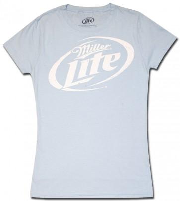 Miller Lite Classic Logo Sky Blue Babydoll Shirt