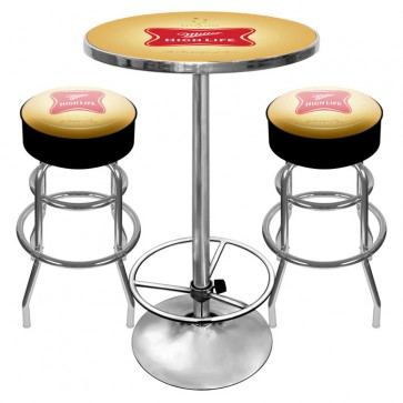 Miller High Life Bar Stools & Table Set