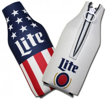 Miller Lite US Flag Collapsible Bottle Koozies