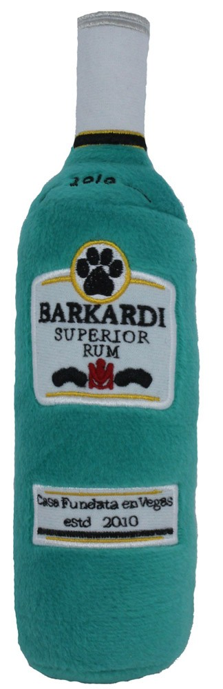 Barkardi Rum Bottle Dog Toy : Plush Squeaker