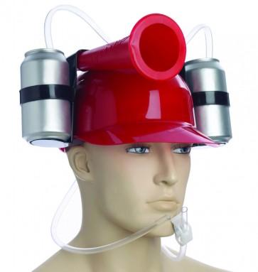 Beer Helmet : Red Drinking Hat w/ Horn