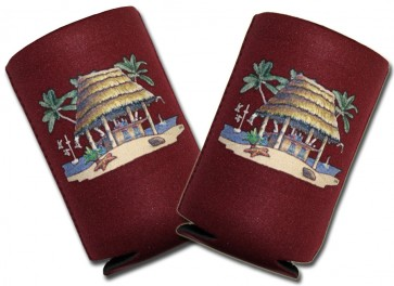 Beer Coozies : Beach Tiki Hut Collapsible Coolie Set