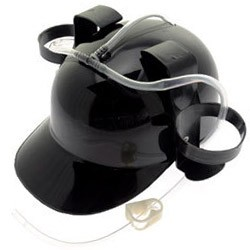 Beer Helmet : Black Beer Drinking Hat