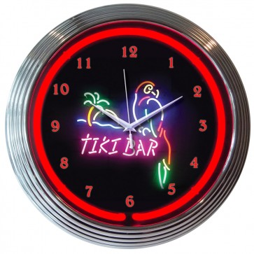 Tiki Bar Neon Clock : Parrot Beach