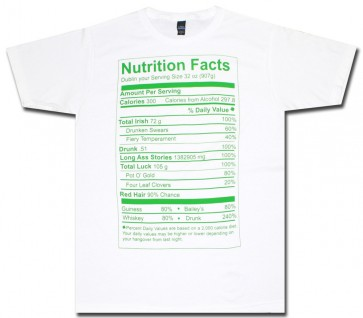 St. Patrick's Irish Nutritional Label T Shirt