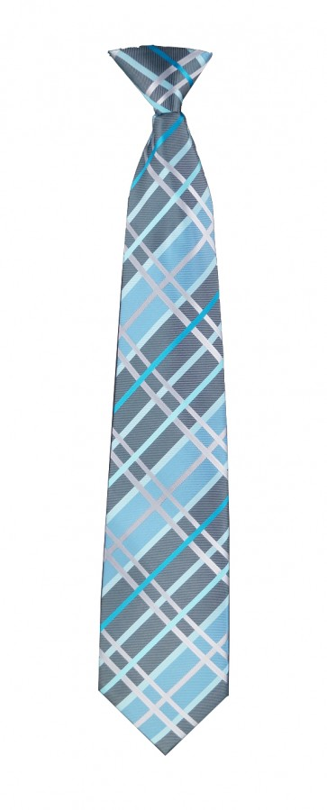 Grey & Turquoise Plaid Flask Tie