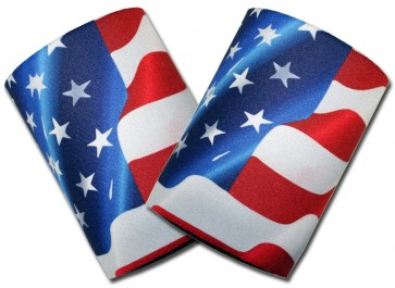 US Flag Waving Can Cooler Koozie Set