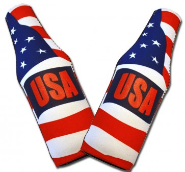 US Flag Waving Bottle Coozie Set