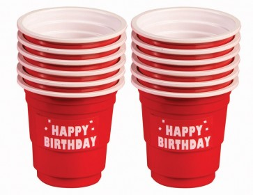 Happy Birthday Red Mini Shot Cups