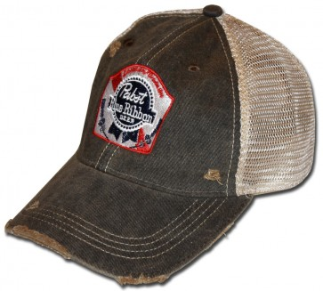 Pabst Blue Ribbon Rustic Ripped Retro Hat