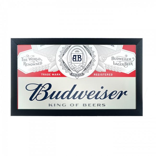 Budweiser Bar Mirror Red Deluxe Logo Boozingear Com