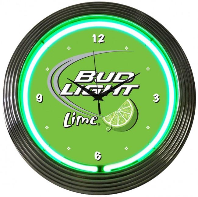 Bud Light Lime Neon Green Clock