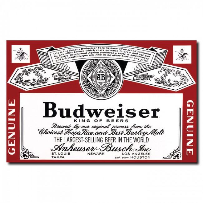 Budweiser Genuine Label 28x18 Canvas Print