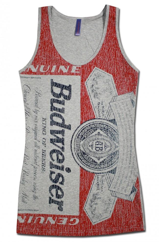 Budweiser Distressed Bottle Label Women's Tank Top