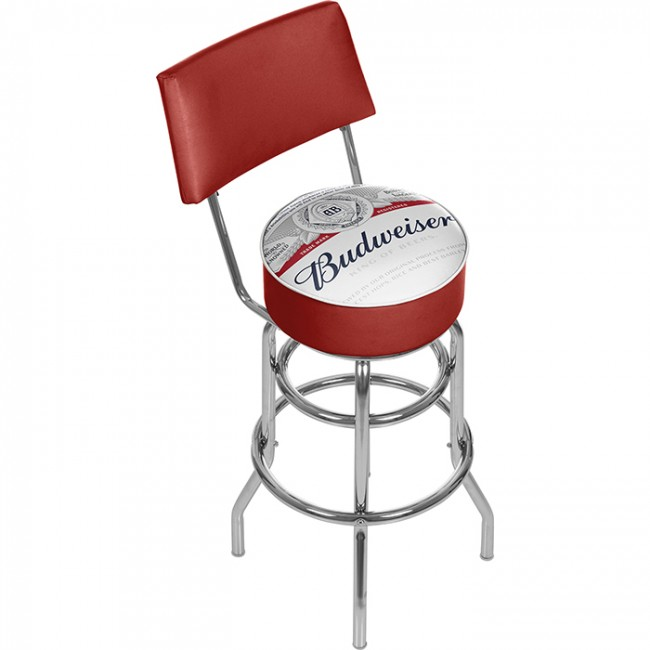 Full Label Budweiser Bar Stool W Backrest Boozingear Com