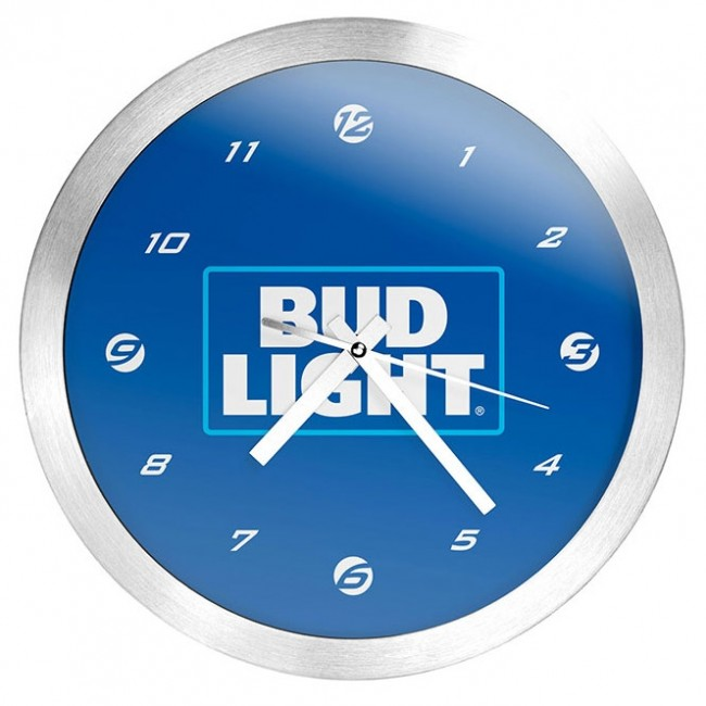 Bud Light Brushed Wall Clock Boozingear Com