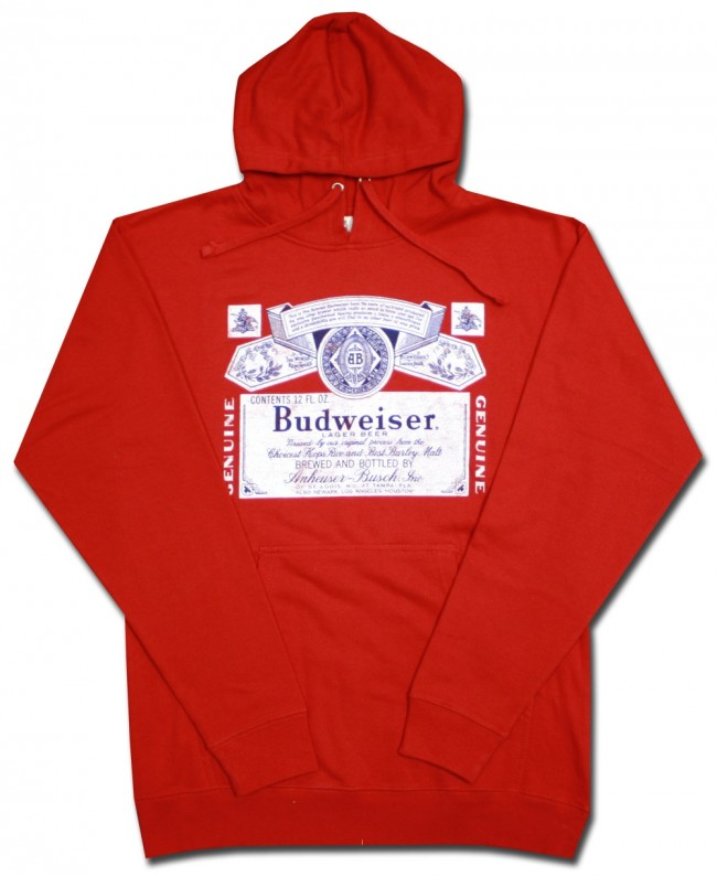 56c4edefbf2c8 Budweiser Classic Label Hooded Sweatshirt