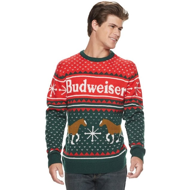 Budweiser Clydesdale Ugly Christmas Sweater Boozingearcom