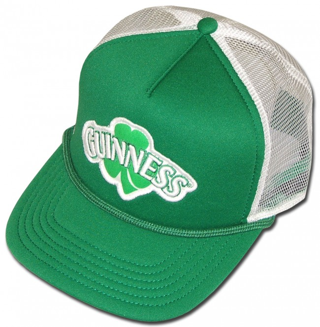 3c76810f494 Home  Guinness Old School Embroidered Shamrock Trucker Hat. Front