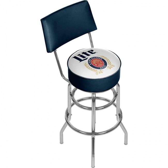 Miller Lite Bar Stool W Backrest