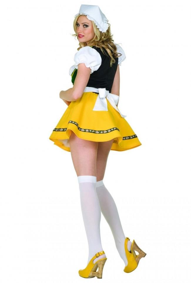 Bright Yellow Sexy Beer Garden Girl Costume Fun Beer Costume