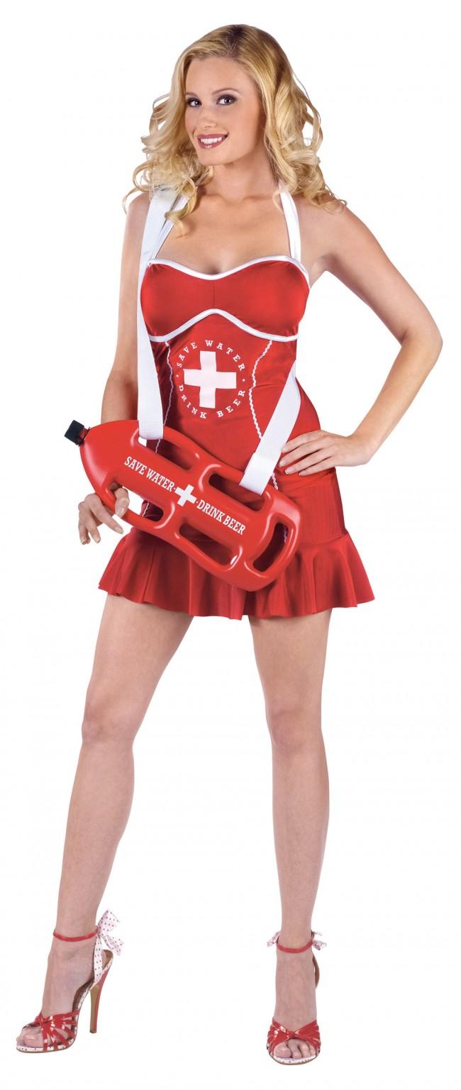 Off Duty Women S Lifeguard Costume Sexy Red Dress Fun