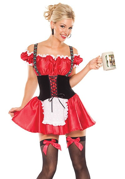 Beer Girl Costume Women S Red Bavarian Dress Fun Beer