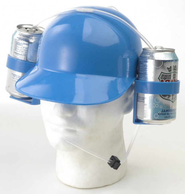Beer Helmet Light Blue Drinking Hat Novelty Drinking