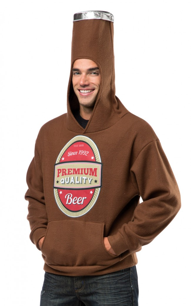Beer Bottle Costume Hooded Sweatshirt Boozingear Com