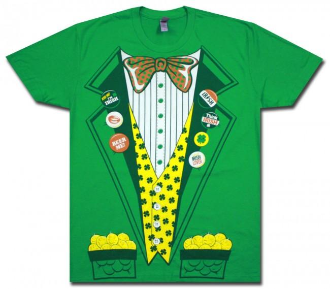 Irish Leprechaun Tuxedo Green T Shirt Boozingear Com