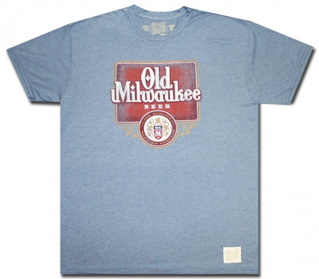 Old Milwaukee Beer T Shirt Baby Blue Comfort