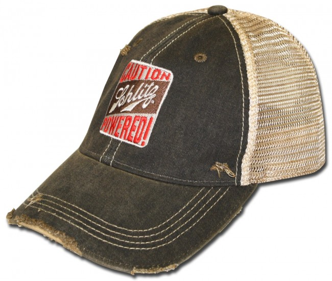 Schlitz Beer Powered Caution Retro Hat Boozingear Com