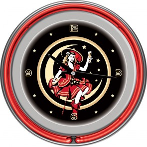 "Miller High Life Neon Clock : Girl On The Moon (14"")"