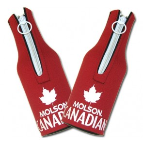 Molson Canadian Red Bottle Coozie Set