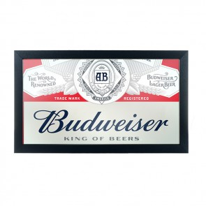 Budweiser Bar Mirror : Red Deluxe Logo